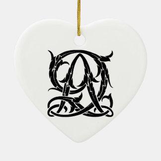 AQ-QA schwarzes Monogramm Keramik Herz-Ornament