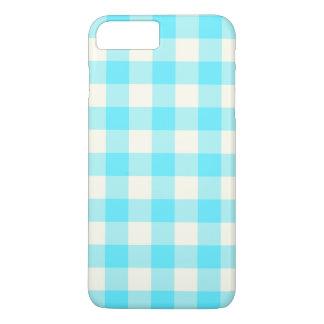 Aqua-blaue Gingham iPhone 6 Plusfall iPhone 7 Plus Hülle