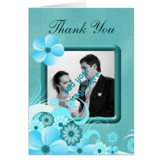 Aqua-blaue Hochzeit danken Ihnen Mitteilungskarte