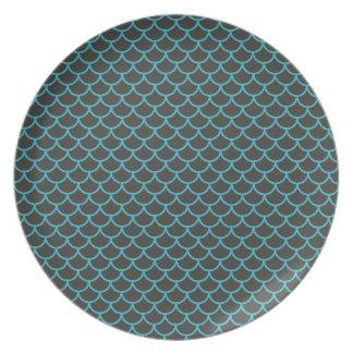 Aqua-blaue und graue Meerjungfrau-Muster-Platte Melaminteller