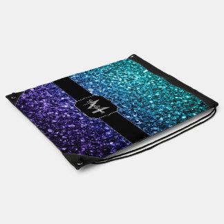 Aqua blaues Ombre Glitter-Glitzern Monogramm Turnbeutel
