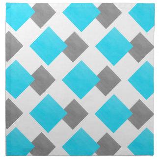 Aqua-graues Weiß-geometrisches Muster Stoffserviette