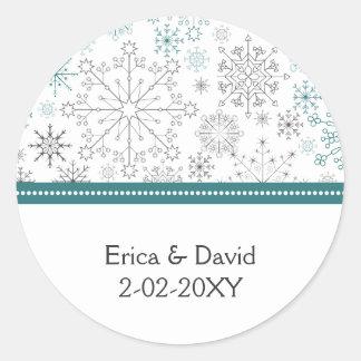 aqua gray snowflake winter wedding favor stickers