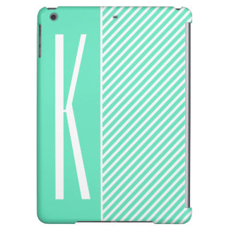 Aqua-grüne u. weiße diagonale Streifen