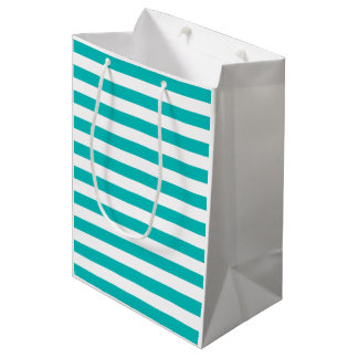 Aqua-horizontale Streifen Mittlere Geschenktüte