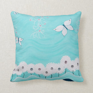 Aqua mit Blumen Kissen