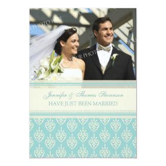 Aqua-SahneFoto-gerade verheiratete 12,7 X 17,8 Cm Einladungskarte