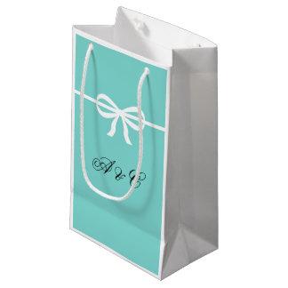 Aqua-u. Weiß-Bogen-Party-Taschen Kleine Geschenktüte