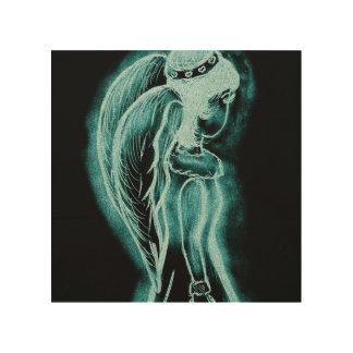 Aqua umgekehrter Engel Holzleinwand