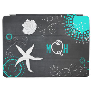 Aqua-weißes Tafel-Strand-Monogramm-iPad Air ケース iPad Air Hülle