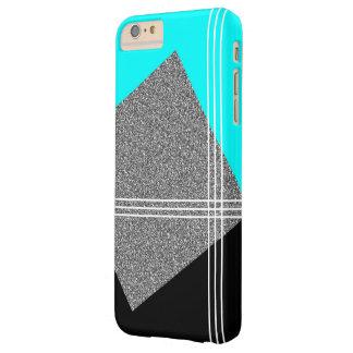 Aquamarin und schwarz mit silbernem Quadrat Barely There iPhone 6 Plus Hülle