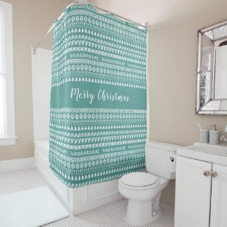 Aquamarin und Weiß rudert Duschvorhang