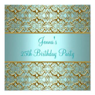 Aquamarine 25. Geburtstags-Party Individuelle Ankündigungen