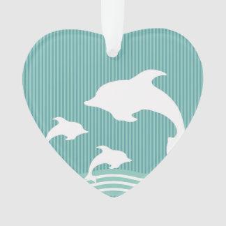 Aquamarine blaue Delphine am Spiel-Muster Ornament
