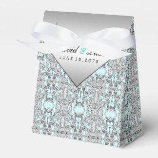 Aquamarine blaue und silberne Hochzeit Geschenkkartons