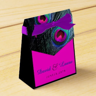 Aquamarine blaues und heißes Rosa-Pfau-Hochzeit Geschenkkartons