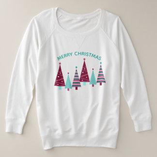 Aquamarine Burgunder-Feiertags-Weihnachtsbäume Große Größe Sweatshirt