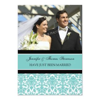 Aquamarine Damast-Foto-gerade verheiratete 12,7 X 17,8 Cm Einladungskarte