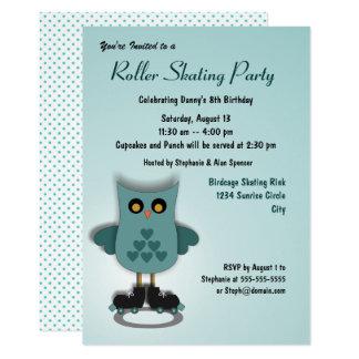 Aquamarine Eulen-Skaten-Party Einladung