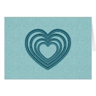 Aquamarine Herz-Kräuselung Grußkarte