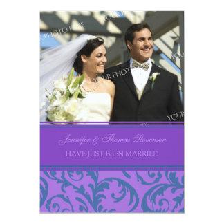 Aquamarine lila Foto-gerade verheiratete 12,7 X 17,8 Cm Einladungskarte