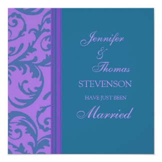 Aquamarine lila gerade verheiratete quadratische 13,3 cm einladungskarte