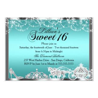 Aquamarine Schein-Prinzessin Theme Sweet 16 laden 12,7 X 17,8 Cm Einladungskarte