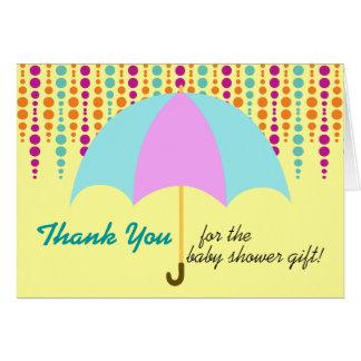 Aquamarine u. lila Regenschirm-Baby-Dusche danken Karte