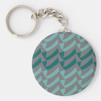 Aquamarine und Aqua-Grau-Karos Schlüsselanhänger