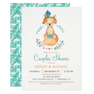 Aquamarine und orange Fox-Paar-Duschen-Einladung 12,7 X 17,8 Cm Einladungskarte