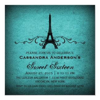 Aquamarine Vintage Franzosen blühen Bonbon 16 Quadratische 13,3 Cm Einladungskarte