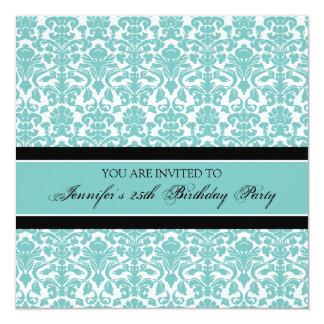 Aquamariner Damast-25. Geburtstags-Party Quadratische 13,3 Cm Einladungskarte