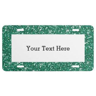 Aquamariner Glitter gedruckt US Nummernschild
