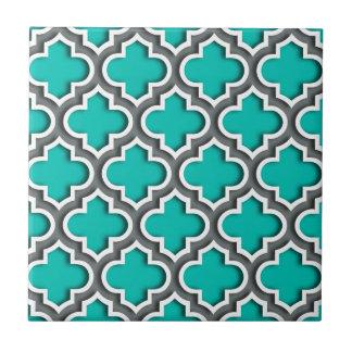 Aquamariner Holzkohlen-graues Weiß-Marokkaner Kleine Quadratische Fliese