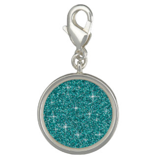 Aquamariner schillernder Glitter Foto Anhänger