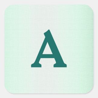 Aquamariner u. weißer personalisierter Quadrat-Aufkleber