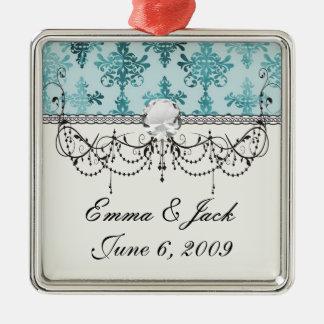 aquamarines Blau und Aqua beunruhigten Damast Silbernes Ornament
