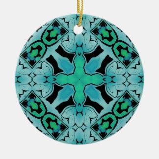Aquamarines blaues Mod-geometrische Rundes Keramik Ornament