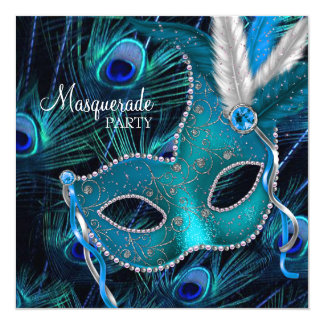Aquamarines blaues Pfau-Masken-Maskerade-Party Quadratische 13,3 Cm Einladungskarte