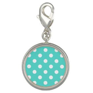 Aquamarines blaues Polka-Punkt-Muster Foto Charms