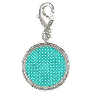 Aquamarines blaues und weißes Polka-Punkt-Muster Foto Charms