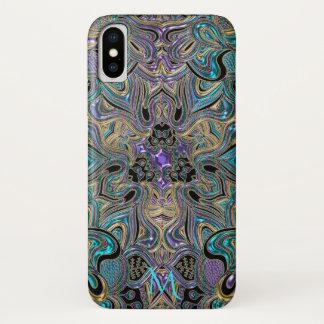 Aquamarines Goldlila Mandala-Monogramm iPhone X