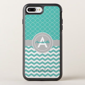 Aquamarines graues Zickzack Quatrefoil OtterBox Symmetry iPhone 8 Plus/7 Plus Hülle