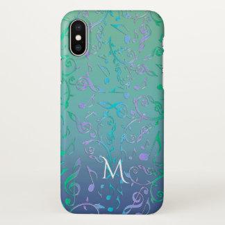 Aquamarines grün-blaues lila Musiknoten-Monogramm iPhone X Hülle