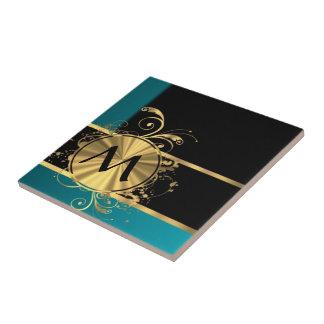 Aquamarines grünes Gold und schwarzes Monogramm Fliese