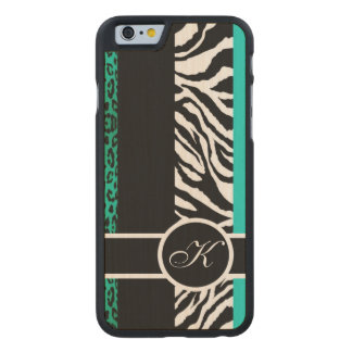 Aquamarines Leopard-und Zebra-Tierdruck-Monogramm Carved® iPhone 6 Hülle Ahorn