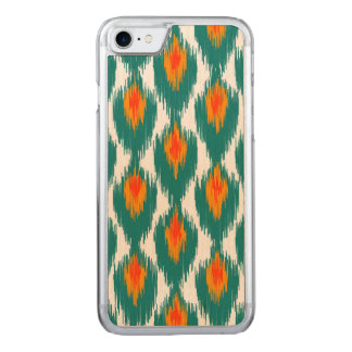 Aquamarines orange abstraktes Stammes- Ikat Carved iPhone 8/7 Hülle