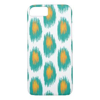 Aquamarines orange abstraktes Stammes- Ikat iPhone 8/7 Hülle