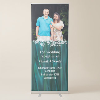 Aquamarines Satin-Blick-Hochzeits-Foto-einziehbare Ausziehbarer Banner