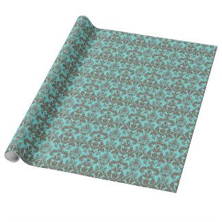 Aquamarines Türkisblau u. Brown-Damast Geschenkpapier